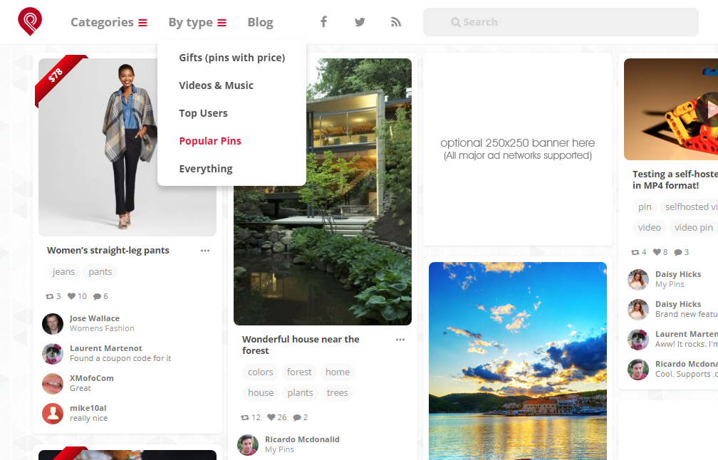 Pinterest Clone Showcases